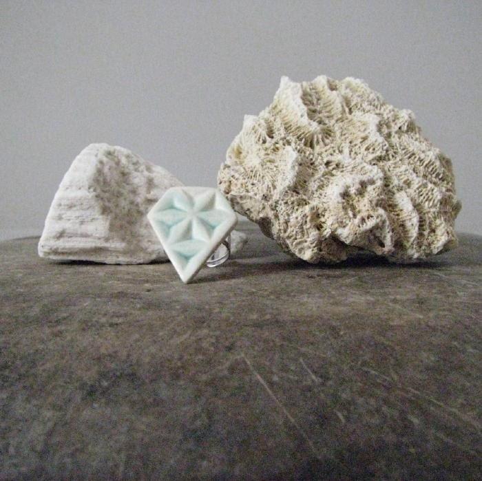 handmade ceramic ring, geometric design, pale turquoise