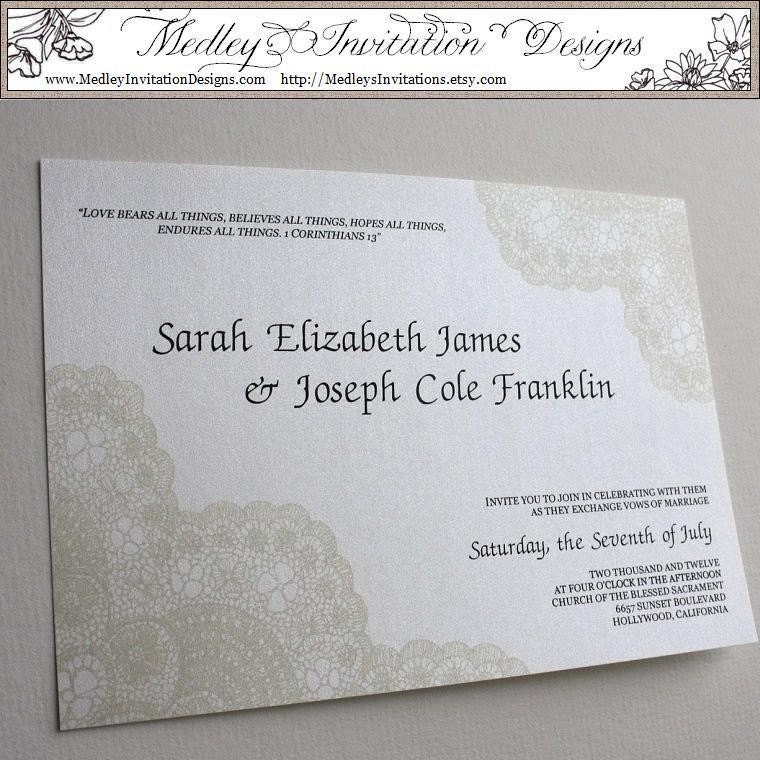 Cream Ivory Vintage Antique Lace Wedding Invitation Set