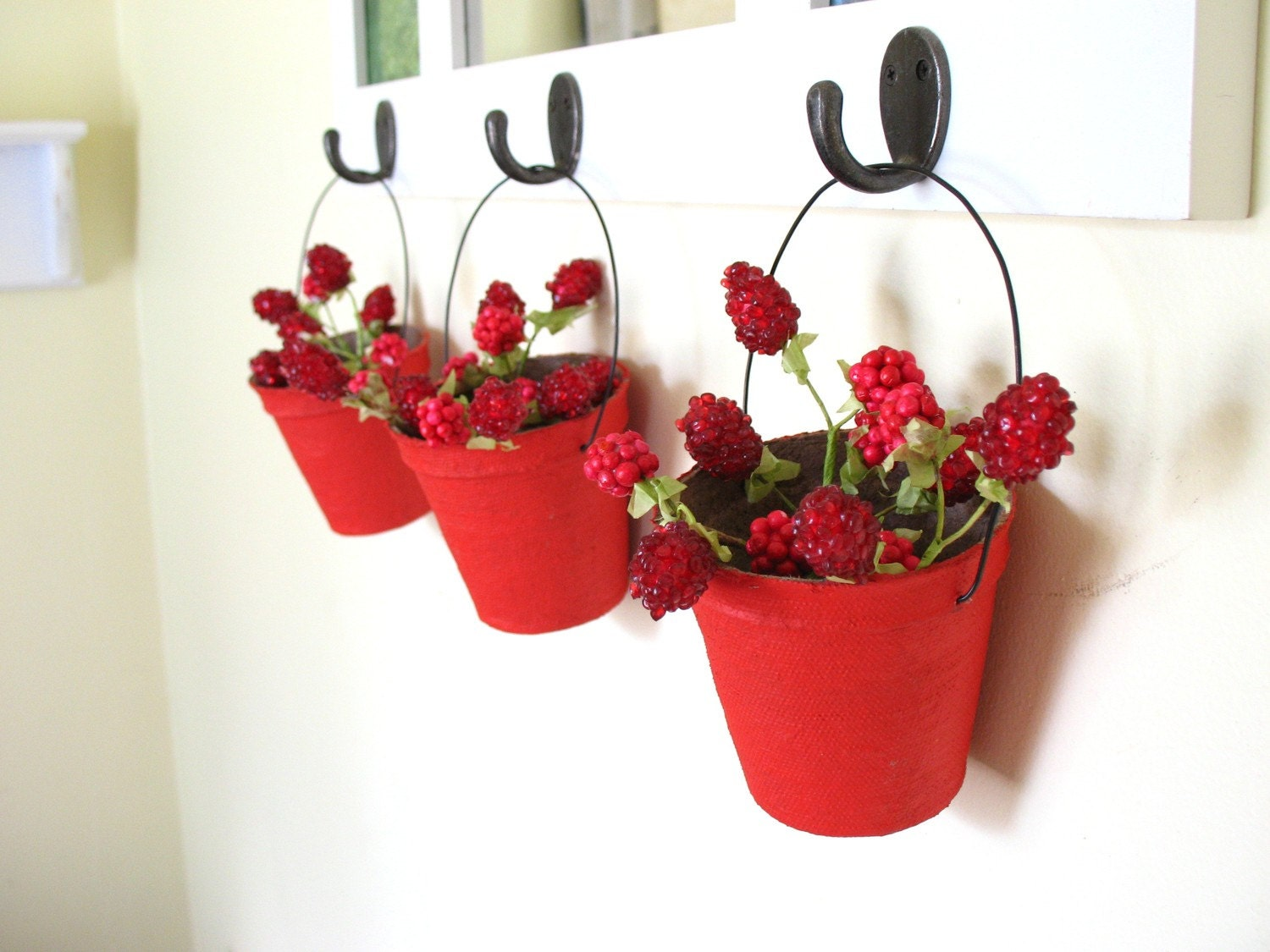 posy baskets in poppy red . four papier mache vintage-inspired candy containers