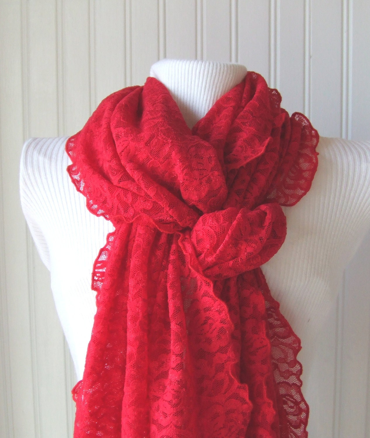 Winterberry Red Lace Ruffled Scarf....New for Christmas....Extra Long