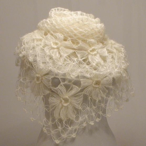 Crochet Shawl Handmade Ivory Flower Mohair Triangle Shawl
