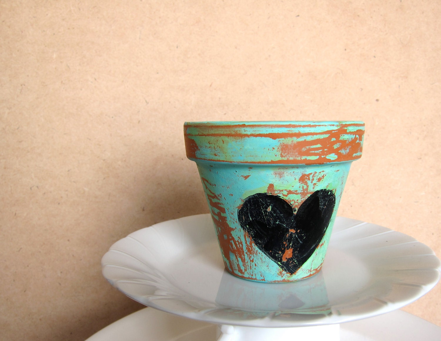 Planter pot - black heart - aqua mint green terra-cotta orange - distressed aged shabby chic rustic - Mothers Day- garden decor