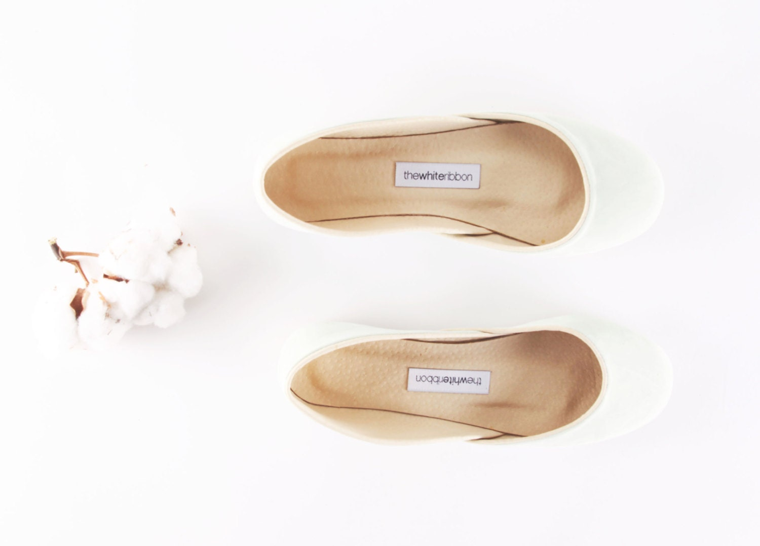 up-cycled Light Mint nubuck ballet flats. - thewhiteribbon