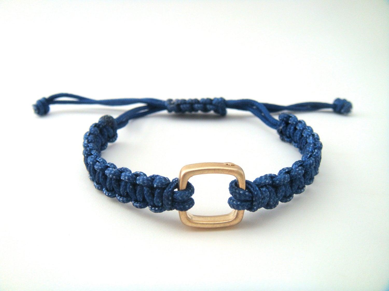 Cobalt Blue Gold Square Macrame Bracelet