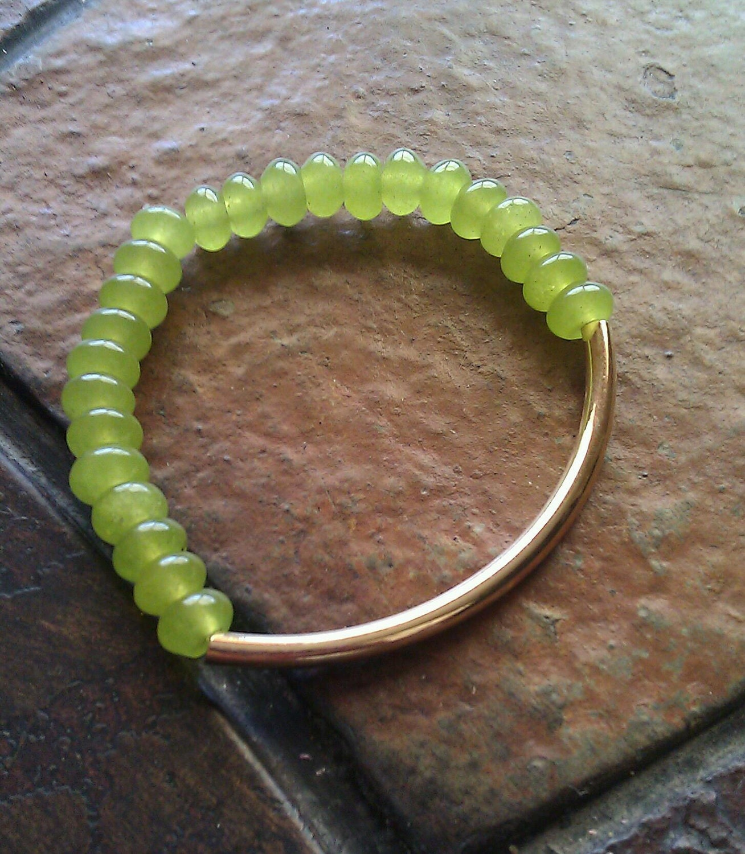 Chartreuse Bar Beaded Stretch bracelet