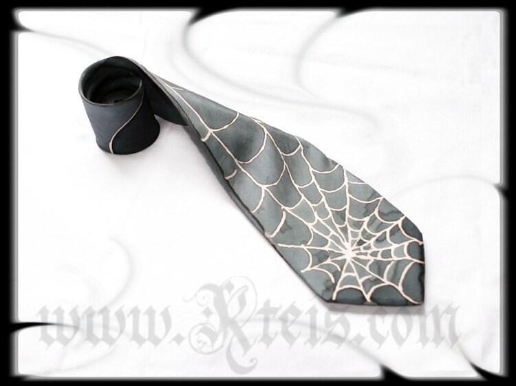 Steampunk silk tie, silver spiderweb, mens fashion