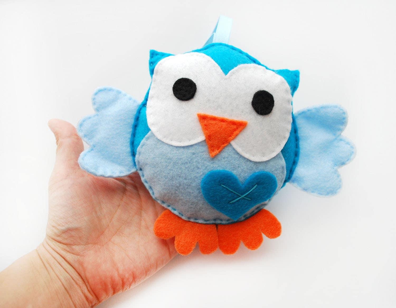 Eco friendly owl Plush toy, Blue and Baby Blue big eyes Owl A328