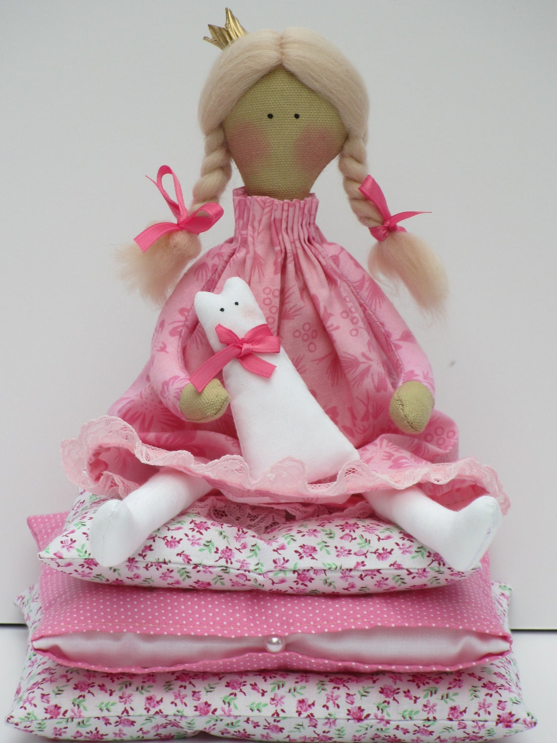 Princess and the Pea -lovely fairy tale fabric doll,blonde in pink dress with a kitty- gift for girl