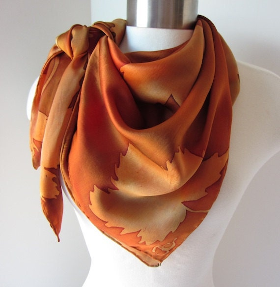 Autumn Maple Leaves hand painted silk scarf square - MADE TO ORDER - joyinmystudio