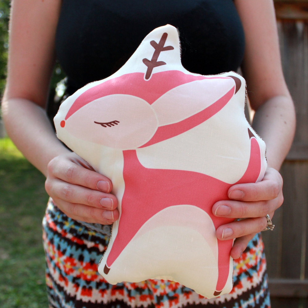 Holiday Plush Reindeer Pillow in Pink MADE TO ORDER