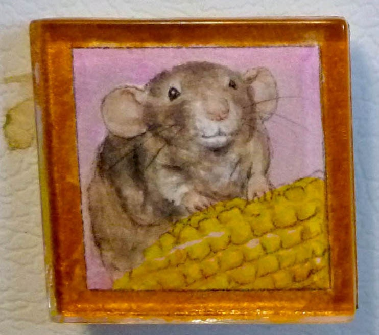 OOAK Hand Painted Watercolor Magnet: Cute Dumbo Rat with Corn - Drusilla