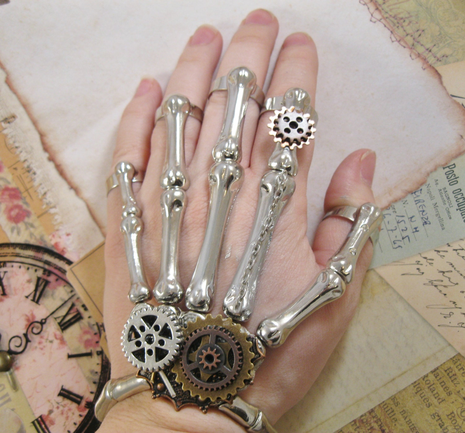 "Steampunk ""Clockwork Skeleton"" Skeleton Hand Bracelet and Finger Rings - Explorer / Scientist / Assassin - SteamFolks"