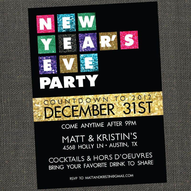 New Years Eve movie themed party invite – Movie Themed Party Invitations