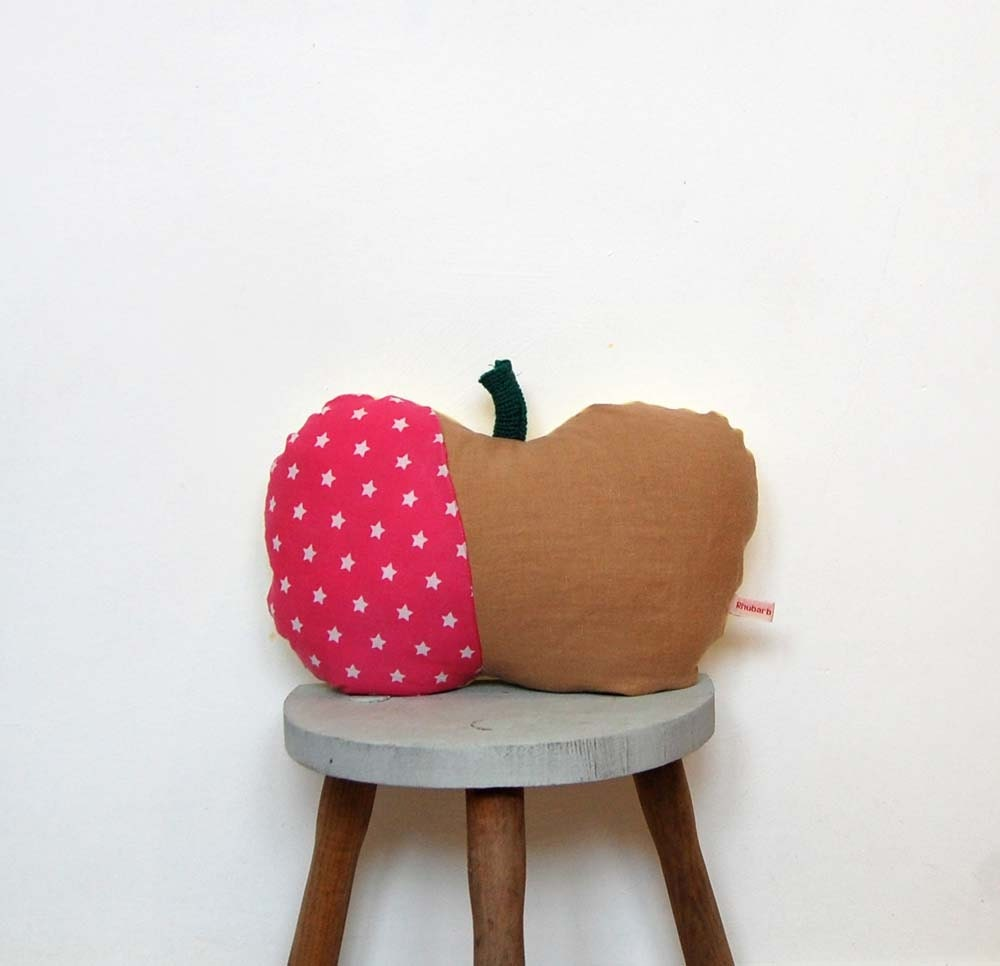 Handmade Apple Cushion Pillow, Linen and Stars - Etsy Rhubarb and Apples