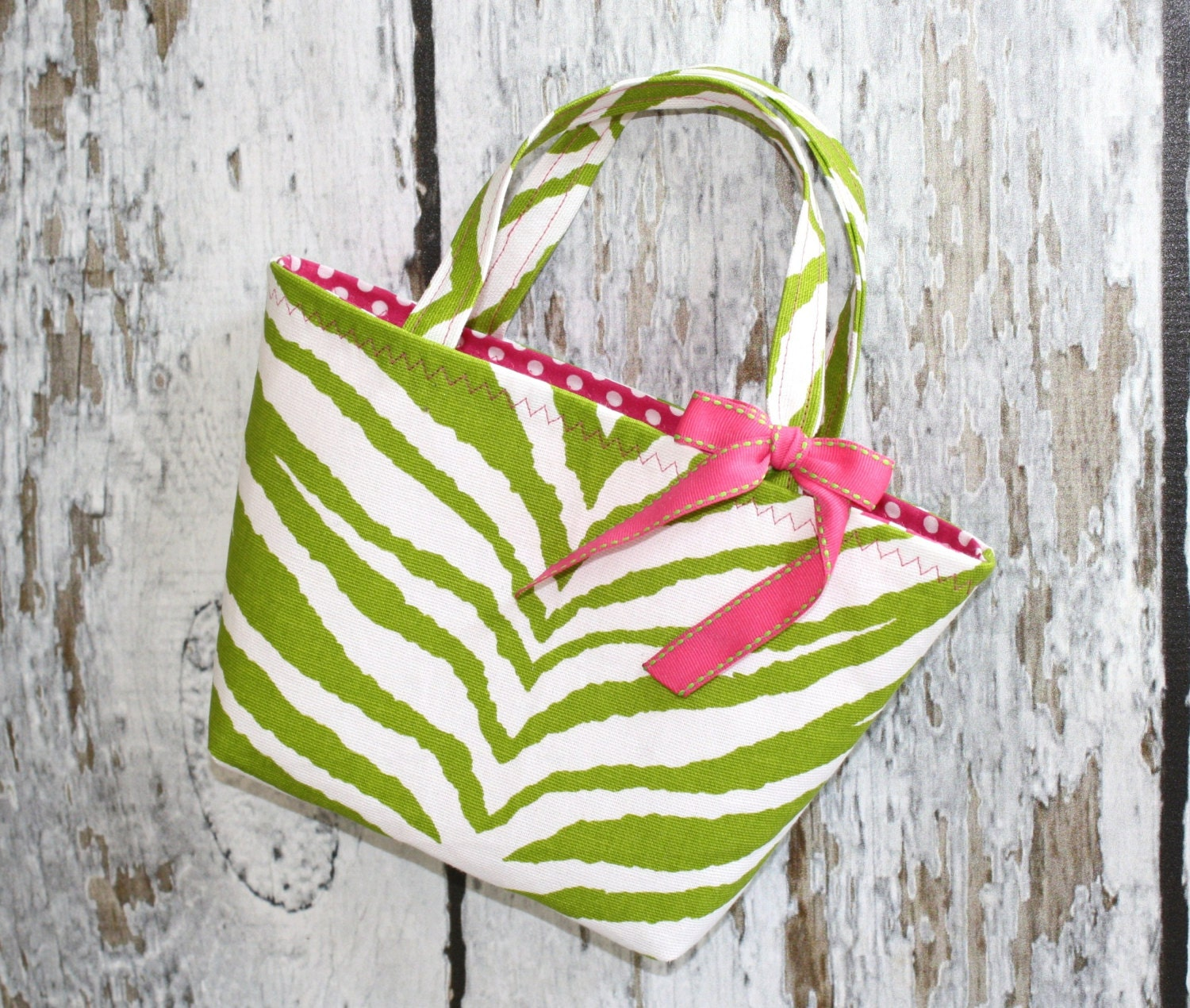 Green Zebra Toddler Tote - Ready To Ship - TinyRoseBoutique