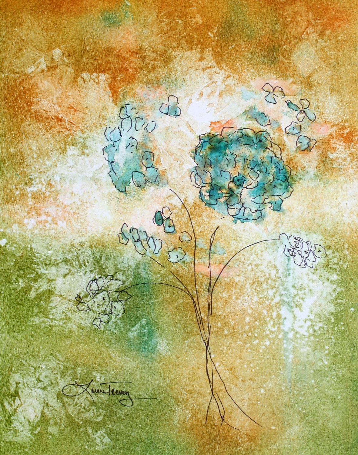 Abstract Floral in Watercolor