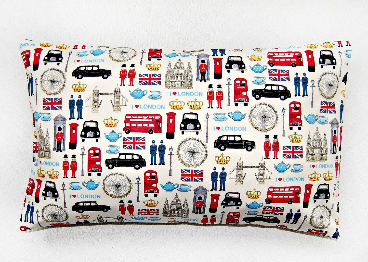 London cushion cover, UK bus, taxi, union jack,  12 x 20 inch pillow cover - LittleJoobieBoo