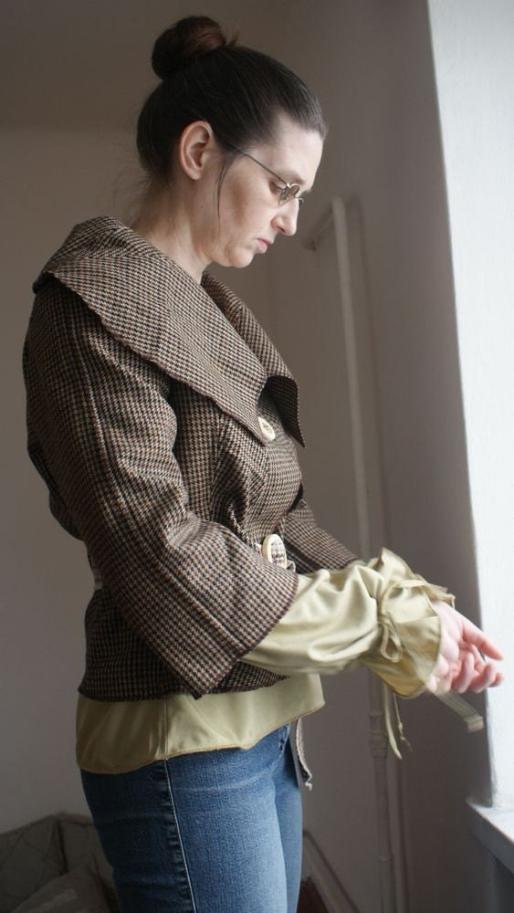 Upcycled woman's clothing Brown jacket in checked Eco friendly style Reconstructed jacket Spring fashion Big colar - annawoz