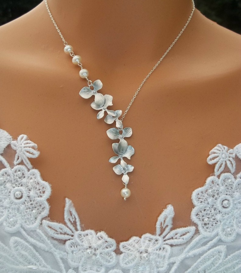 Orchid Necklace - Pearl Necklace, Orchid Cascade, Wedding Jewelry, Bridal Jewelry, Bridesmaids Gift Ideas
