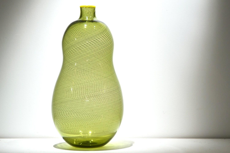 Olive Green & Black Cane Handblown Glass Vase - studiospectaculous
