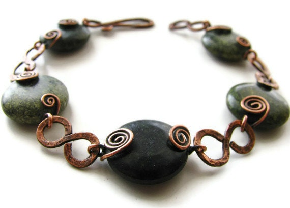 Russian Serpentine Bracelet Rustic Copper Wire Wrapped with Swirls -Moss - heversonart