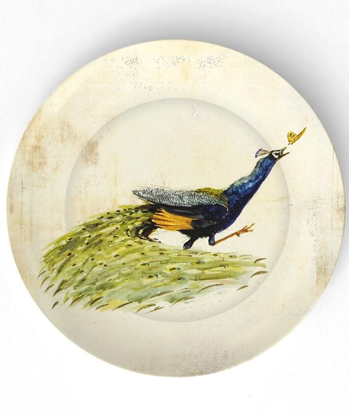 Peacock perseguindo uma borboleta - 10 polegadas Placa de Melamina