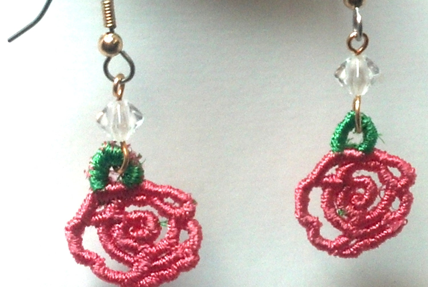 Pink Rose Earrings, flowers, flower earrings, earrings, jewelry for her, jewelry, handcrafted, handmade, online, Etsy, Embroidery, forever, forever gifts, love, valentines day, great gifts, anniversary,