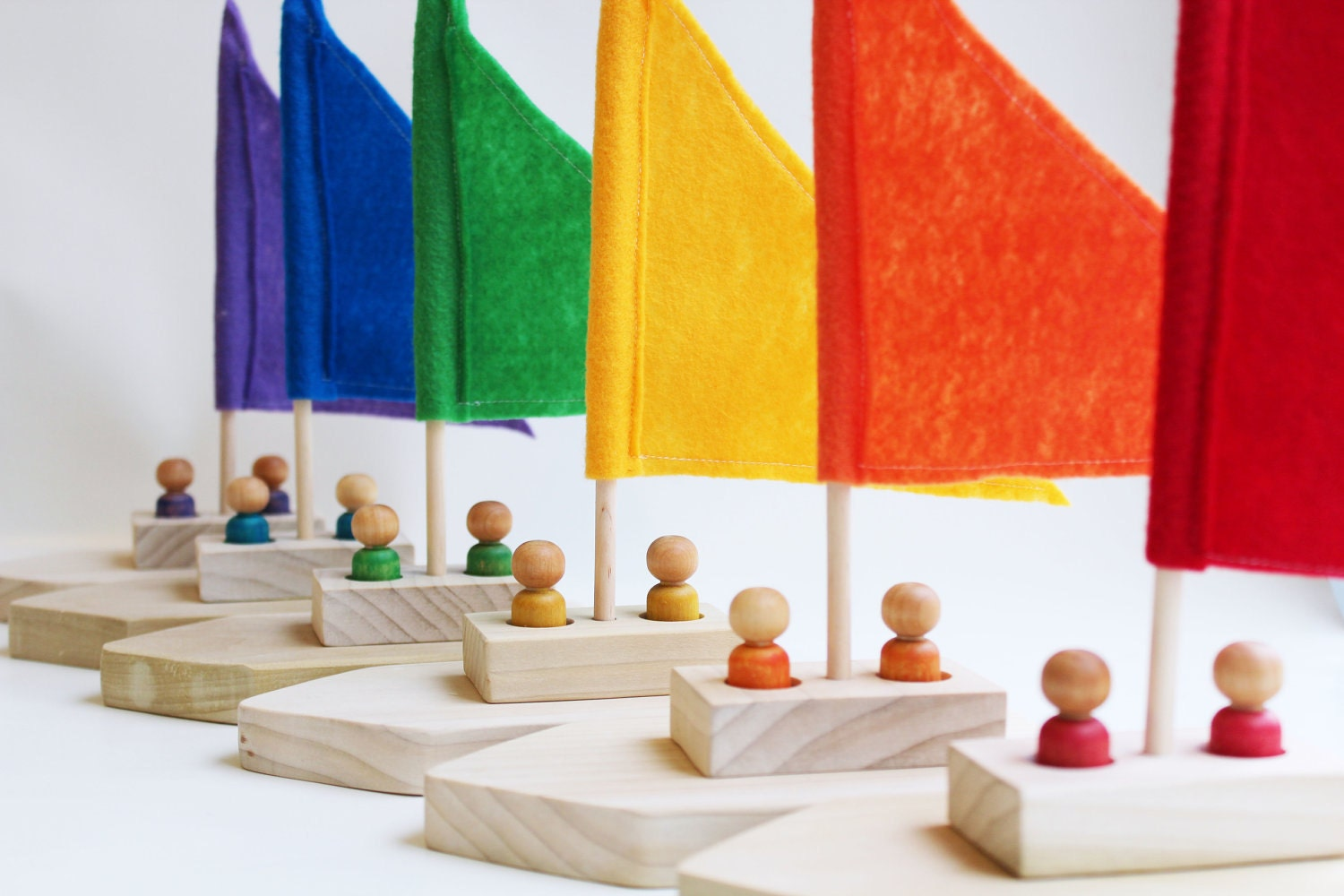 Rainbow Regatta - Choose Your Color - A Montessori and Waldorf Inspired Pretend Play and Sailing Toy - MamaMayI