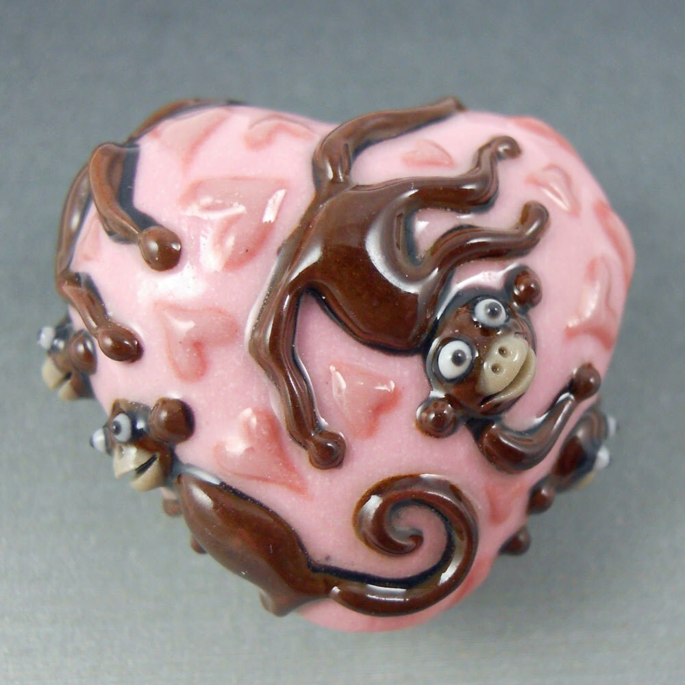 Monkey Heart Bead - Colored Porcelain Art Bead
