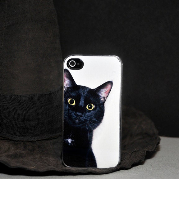 iPhone Case - Black Cat Peeking Around the Corner - iPhone 4 Hard Case - ebonypaws