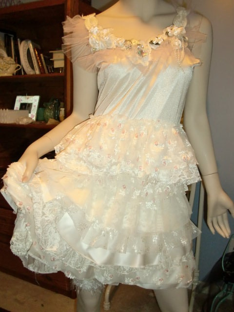 Wedding Dress Bride Gown Ivory Upcycled Slip Dress Wedding Dress Prom Dress