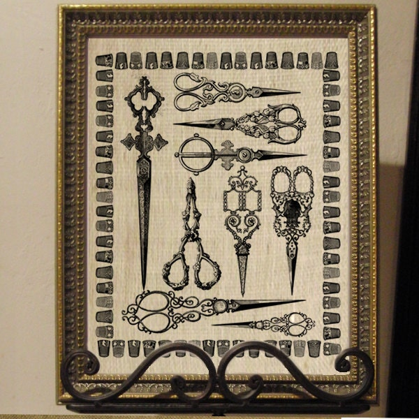 Beautiful Ornate Sewing Scissors with Thimble Border Digital Image Download Sheet Transfer To Pillows Tote Bags Tea Towels Burlap No. 2213
