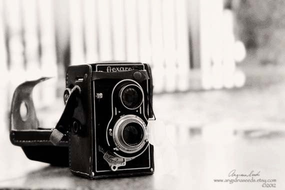 Vintage Camera photo, Twin-lens reflex, dreamy, 8x12 art photo, Prague, black and white, gift under 30, minimalist, home wall decor - AngsanaSeeds