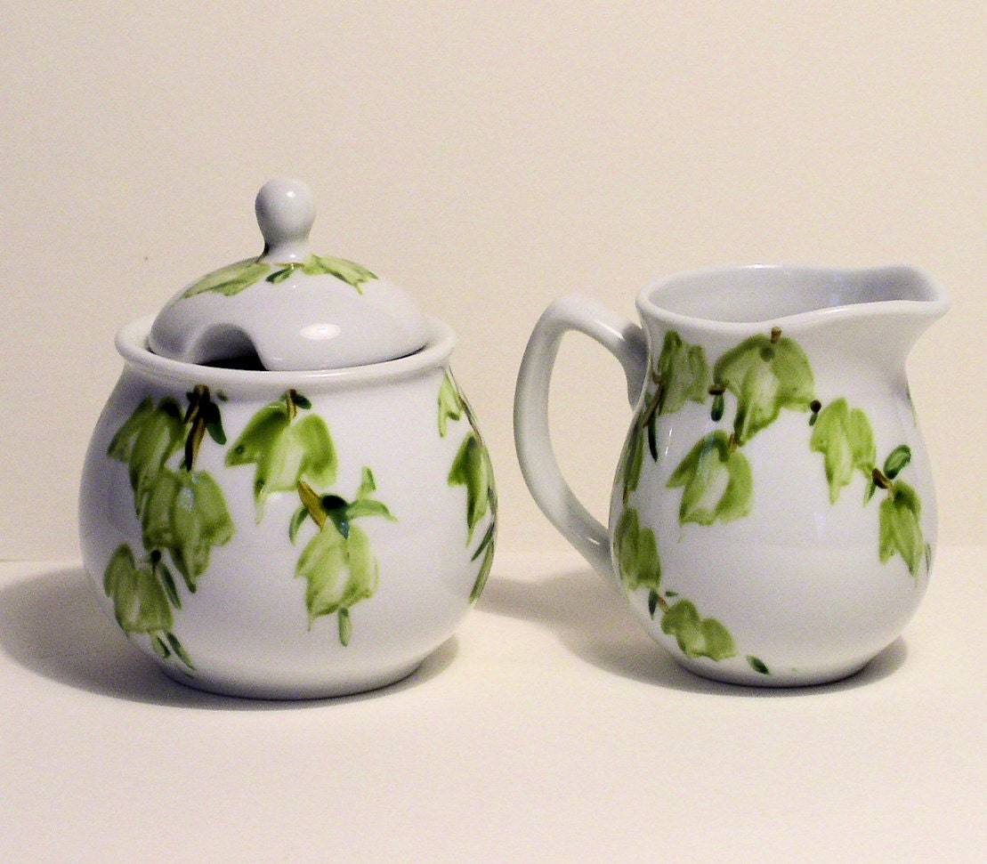 Painted White Ceramic China Sugar and Creamer set with Ivy