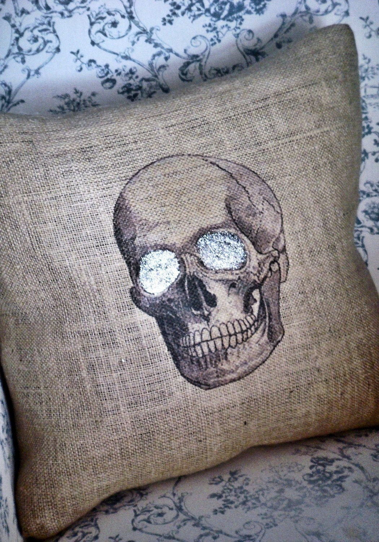 Skull Burlap Pillow Cover Halloween pillow