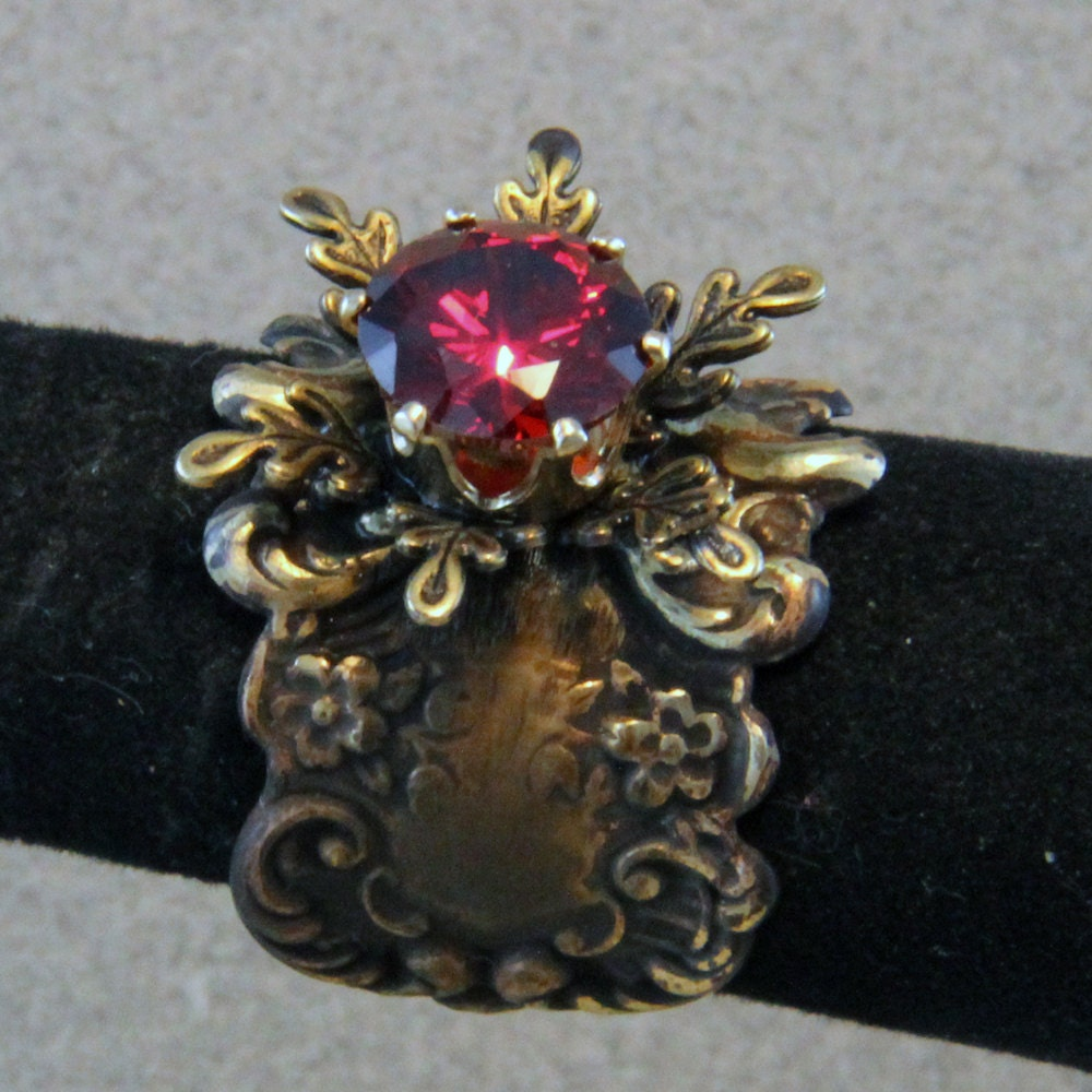 Lab Ruby set in Ornate Mount Adjustable Ring - oscarcrow