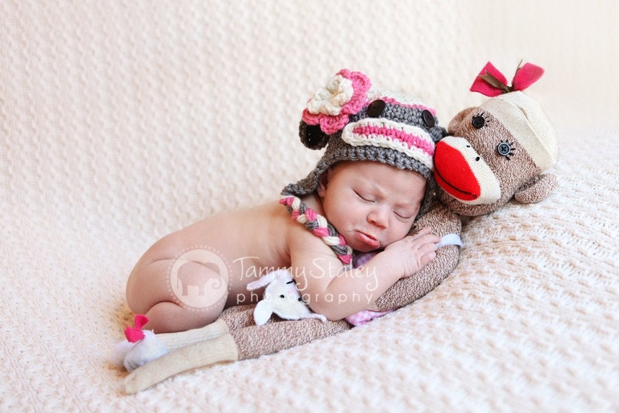 Sock Monkey Hat with flower Any Size perfect for photo prop girl or boy FREE SHIPPING