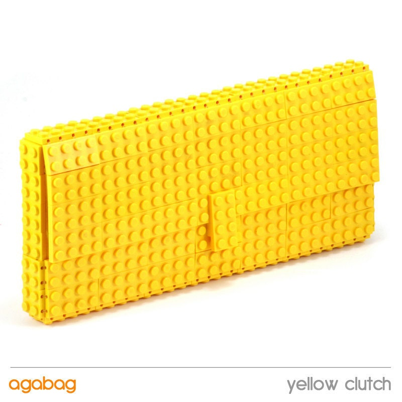 Yellow clutch made entirely of LEGO bricks