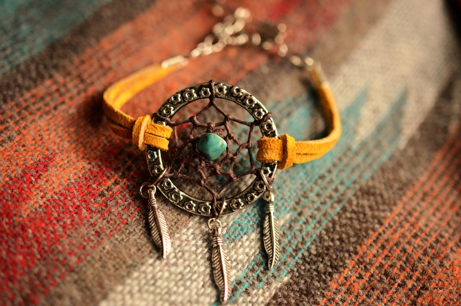 NEW Color Gold Suede Dreamcatcher Bracelet