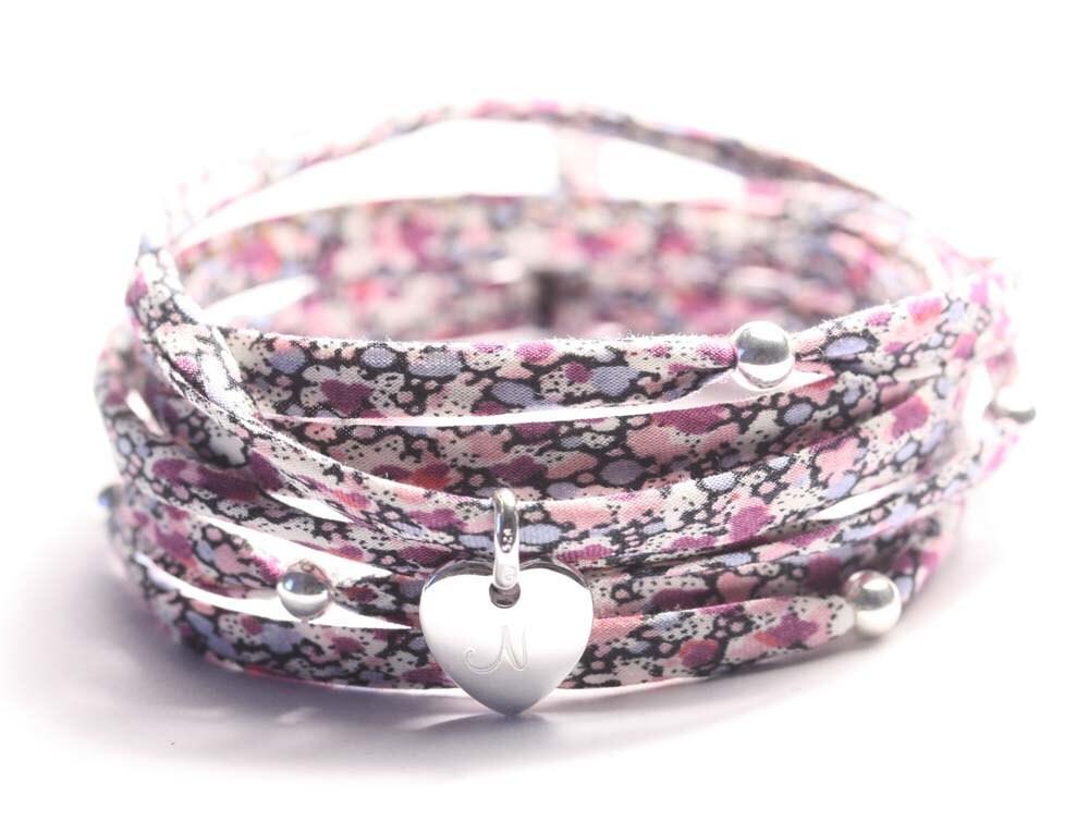 Silver charm bracelet, liberty wrap bracelet, ONE hand stamped charm, sterling silver, custom ribbons