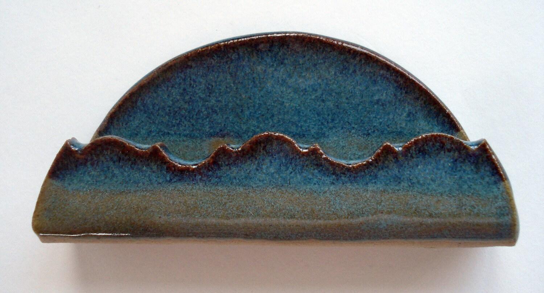 Ceramic Business Card Holder - Handmade, Antique Jade, Home ...