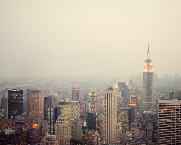 New York, NYC Photography, Manhattan skyline, Pastel, City lights at dusk, Travel, Empire State, Spring, 8x10 photo - The View - EyePoetryPhotography