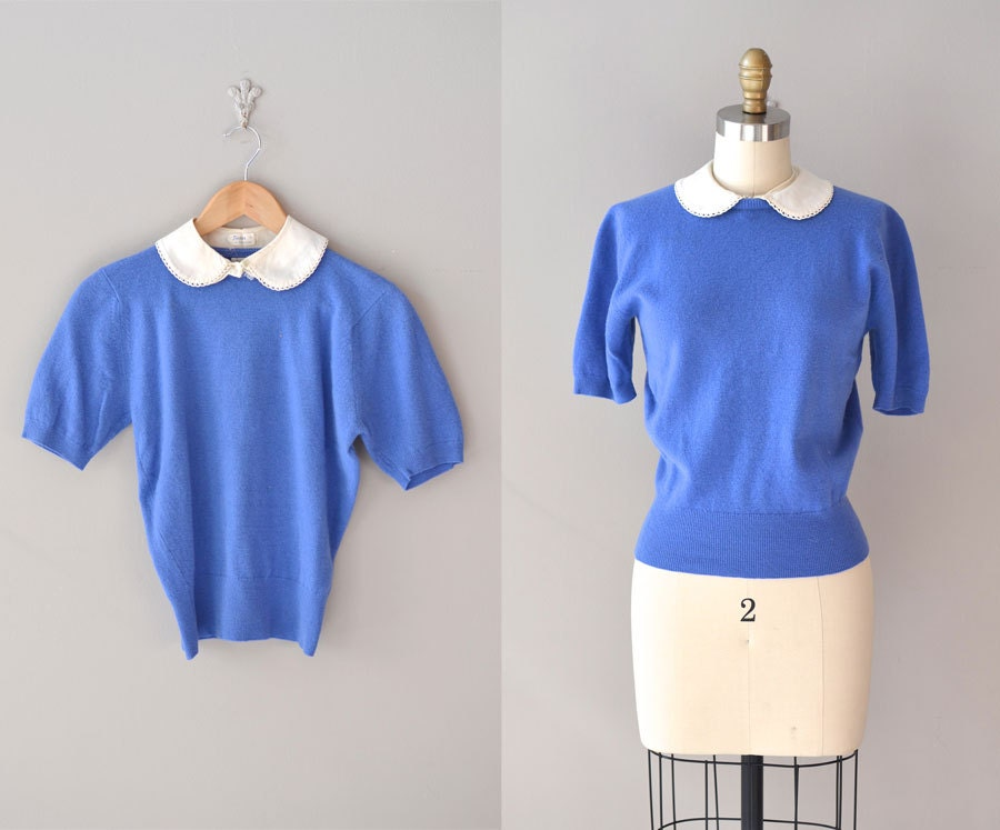 1950s sweater / 50s peter pan collar sweater / Good Girl