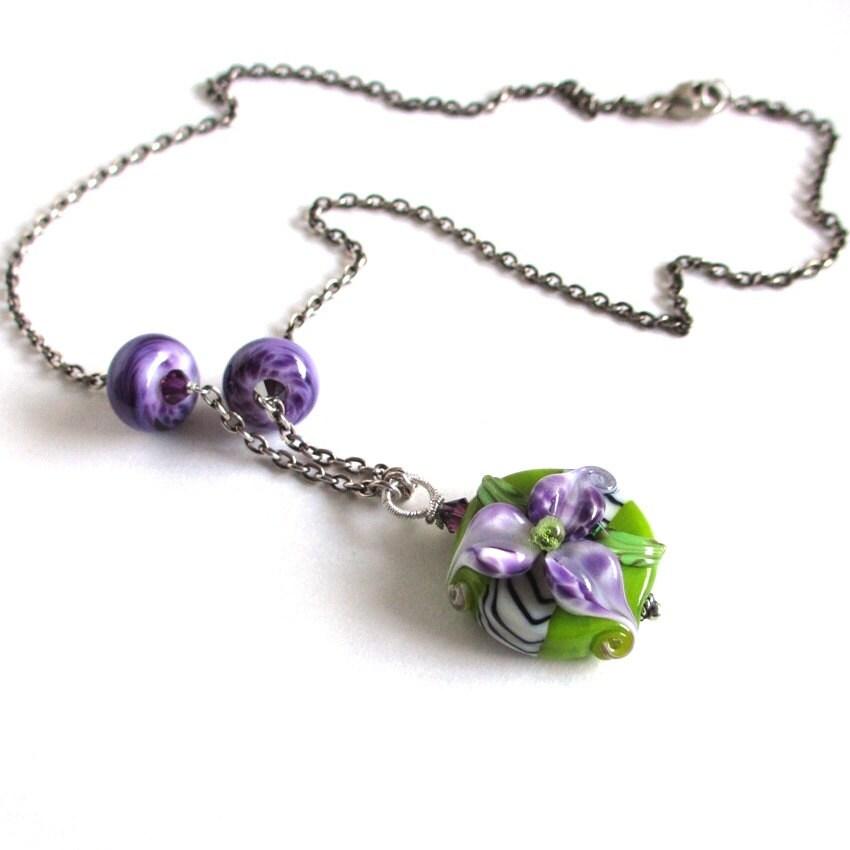Handmade Purple Flower Lampwork Necklace on Sterling Silver, Aida - sandcastlejewels