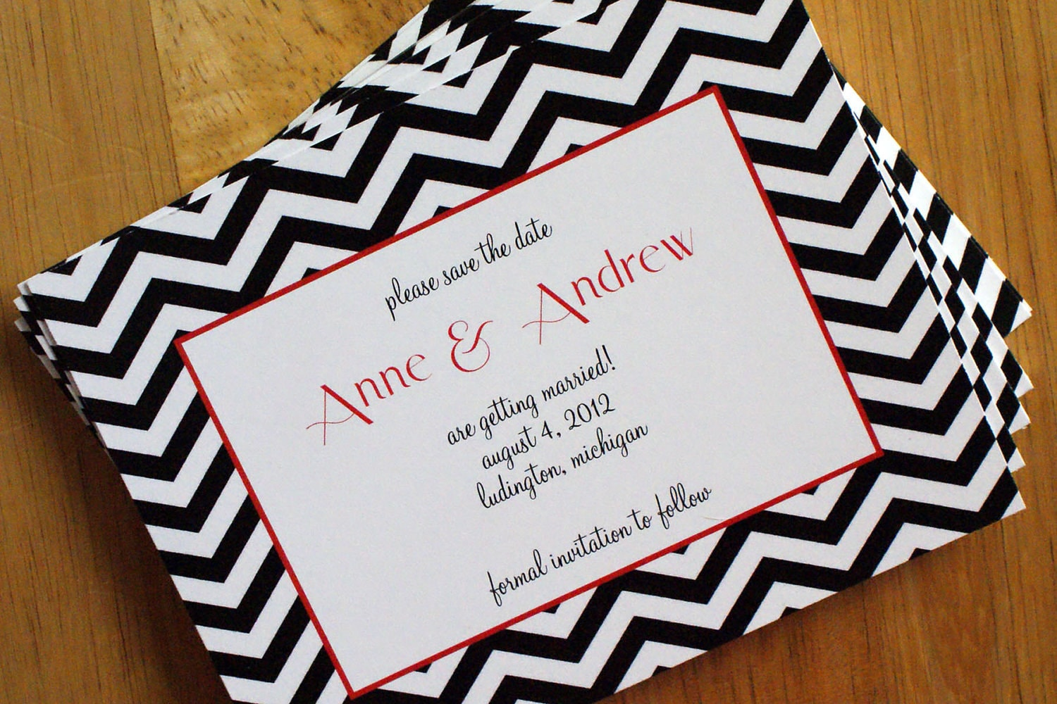 NEW - Chevron Stripe Save the Date - Black, White, Coral - Customize Colors - SAMPLE