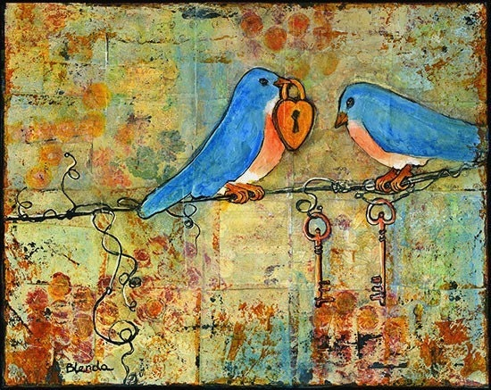 Bird Print Art Picture Bluebirds on a Wire 8X10