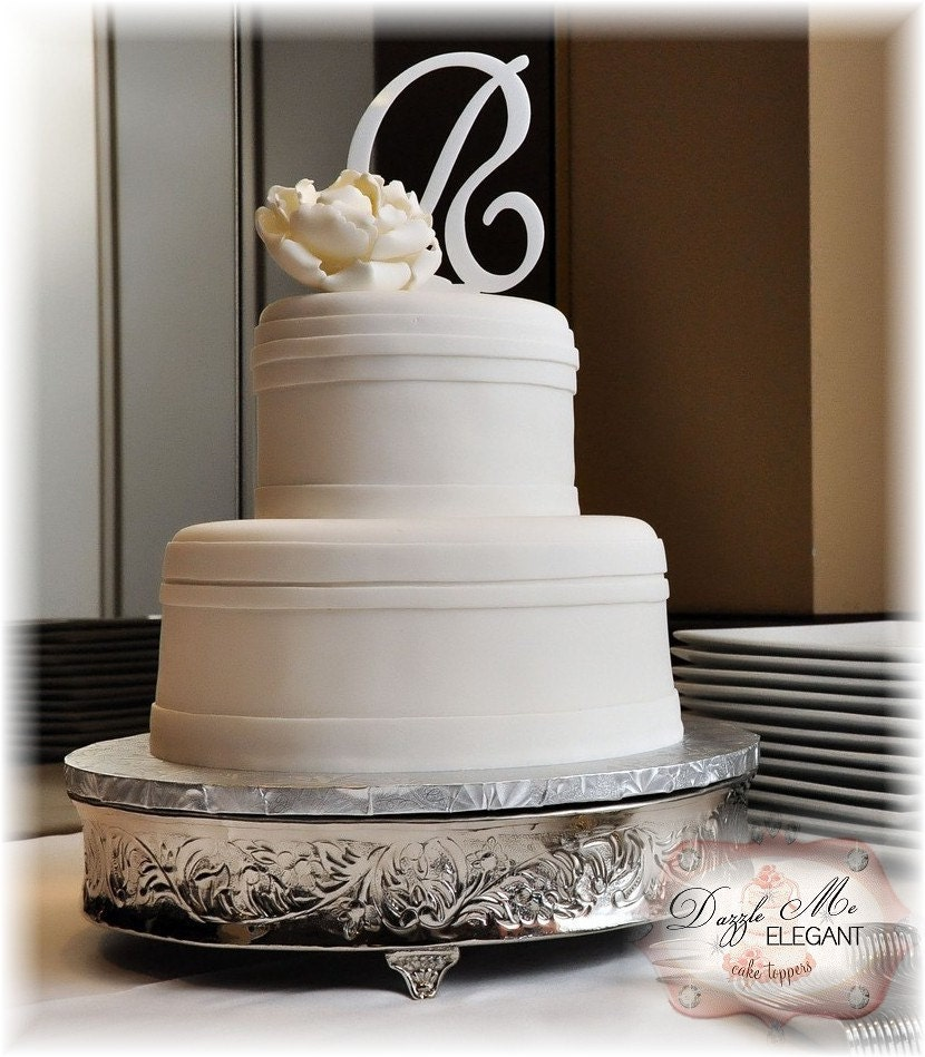 White Monogram Cake Topper-Custom  A-Z FREE SHIPPING