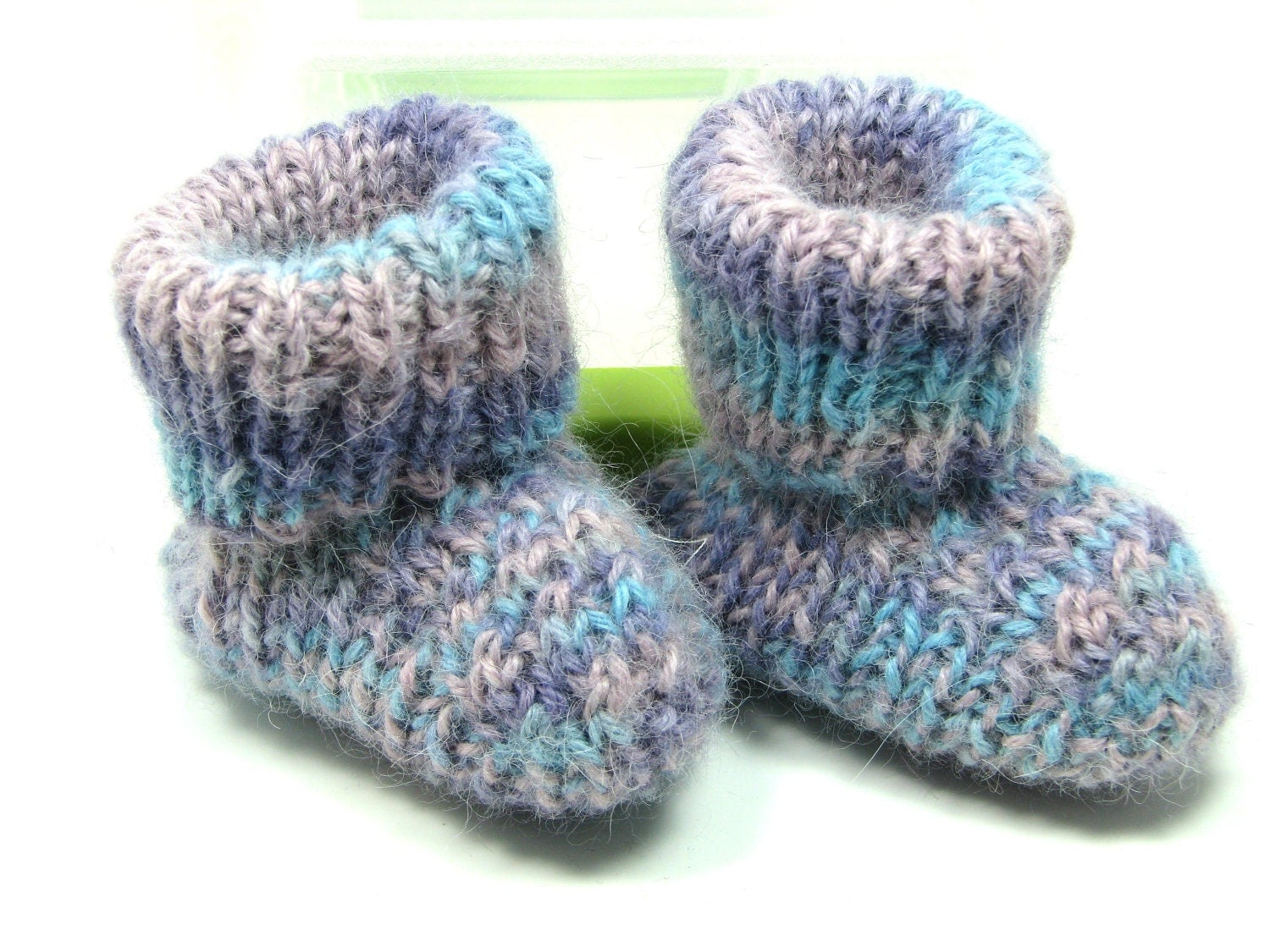 Knitted Alpaca Baby Booties Pink Lavender Blue Stripes 0-6 mos - jenandoles