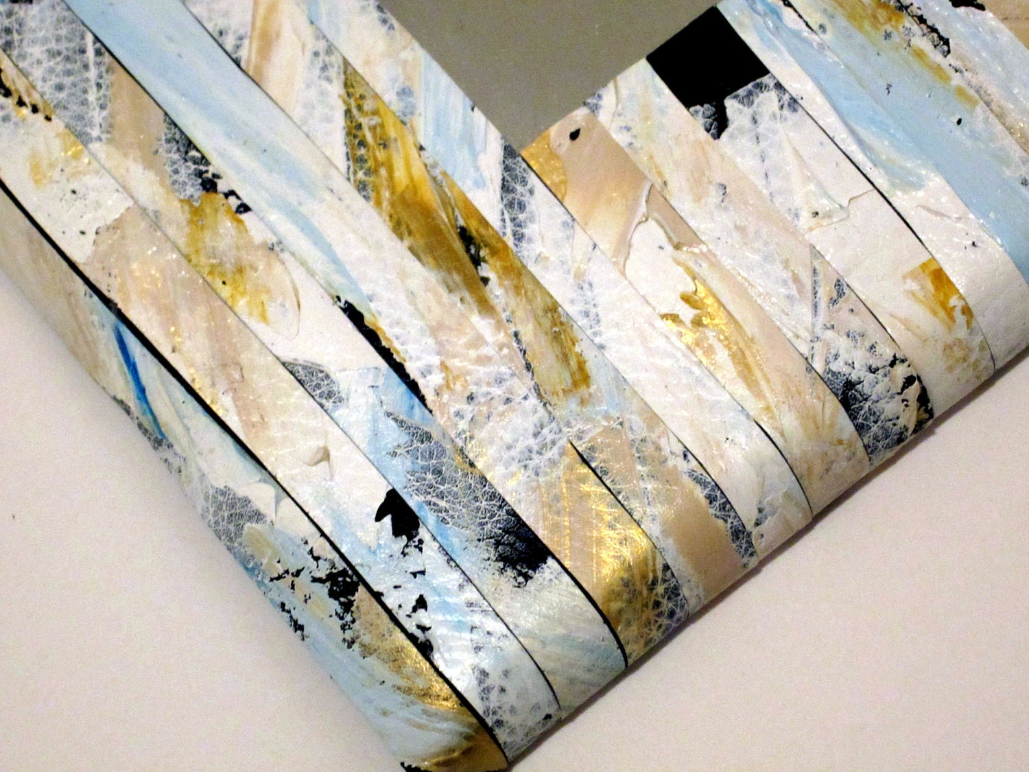 White Mirror, Striped Leather Acrylic Paint  Rectangle