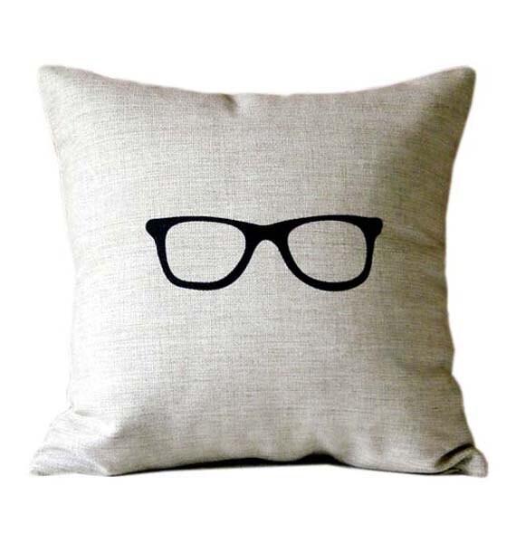 SUMMER SALE - Natural linen pillow with black glasses design decorative linen throw pillow modern accent pillow - Ideccor